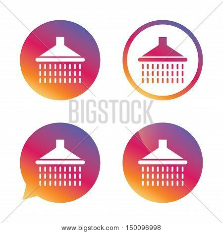Shower sign icon. Douche with water drops symbol. Gradient buttons with flat icon. Speech bubble sign. Vector