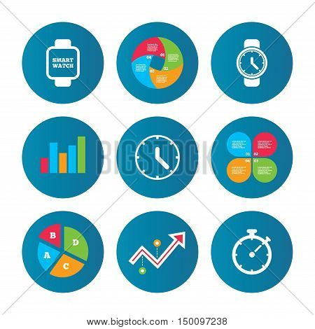 Business pie chart. Growth curve. Presentation buttons. Smart watch icons. Mechanical clock time, Stopwatch timer symbols. Wrist digital watch sign. Data analysis. Vector