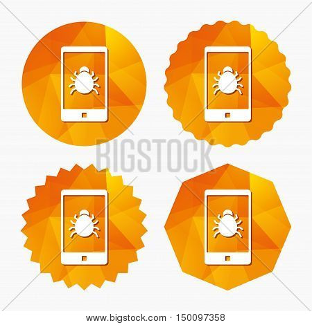 Smartphone virus sign icon. Software bug symbol. Triangular low poly buttons with flat icon. Vector