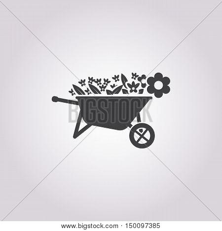 wheelbarrow icon on white background for web