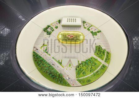 MOSCOW - DEC 25, 2014: Small model of new Spartak stadium. Stadium capacity - 45 000 people. Stadium was built in 2010-2018