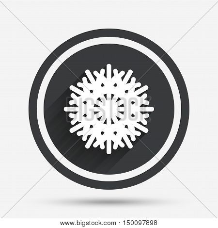 Snowflake artistic sign icon. Christmas and New year winter symbol. Air conditioning symbol. Circle flat button with shadow and border. Vector
