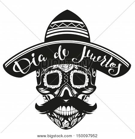 Dia de Muertos Day of Dead. Black Skull in Mexican Hat. Isolated on white vector illustration