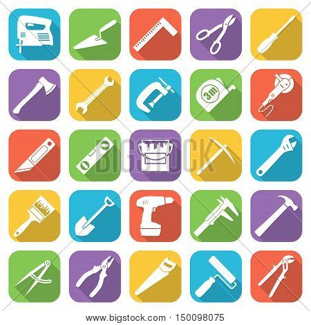 Set of twenty five flat style tools icons on a different color backgrounds with oblique shadows. Vector illustration.