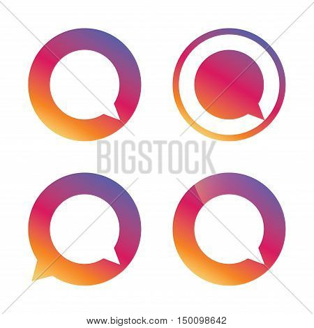 Chat sign icon. Speech bubble symbol. Communication chat bubbles. Gradient buttons with flat icon. Speech bubble sign. Vector