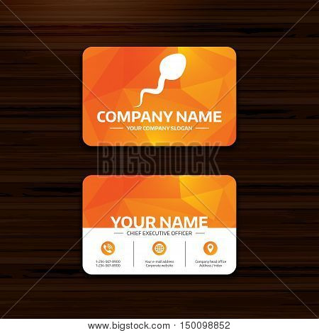 Business or visiting card template. Sperm sign icon. Fertilization or insemination symbol. Phone, globe and pointer icons. Vector