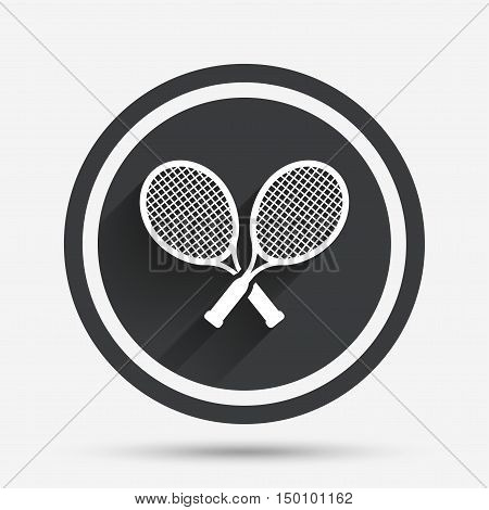 Tennis rackets sign icon. Sport symbol. Circle flat button with shadow and border. Vector