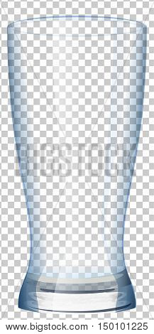 Empty glass cup with transparent background. Illustration in vector format