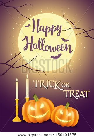 "Hand written lettering with text ""Happy Halloween trick or treat"". Typographical design element for halloween holiday."