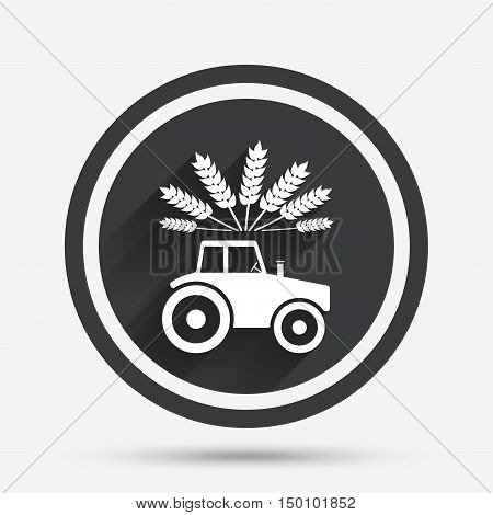Tractor with Wheat corn sign icon. Agricultural industry symbol. Circle flat button with shadow and border. Vector