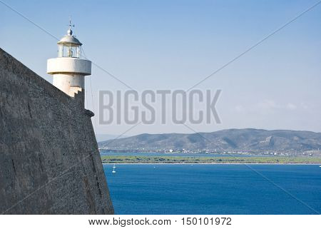 View of a lighthouse in the Argentario Tuscany in Italy
