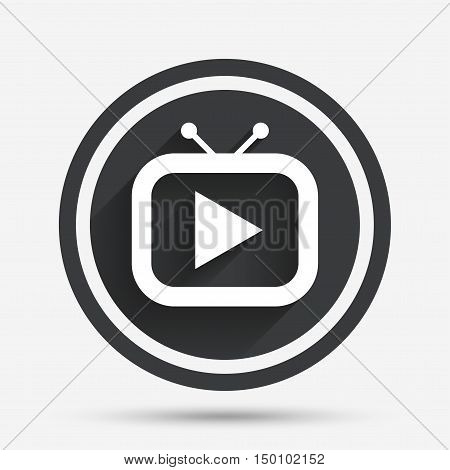Retro TV mode sign icon. Television set symbol. Circle flat button with shadow and border. Vector