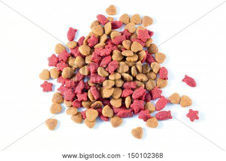Cat food  on white background in the room
