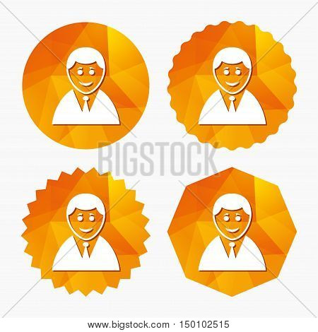 User sign icon. Person symbol. Human in suit avatar. Triangular low poly buttons with flat icon. Vector