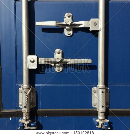 Blue container shipping, Door and locker container.