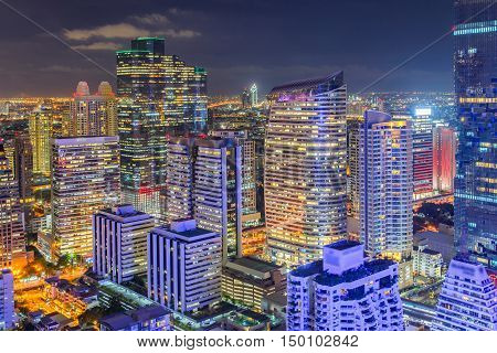 Top view Bangkok financial district business building and shopping mall center at Southeast Asia