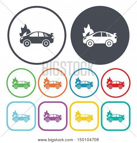 car fire icon on white background for web