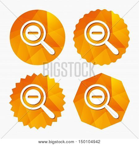 Magnifier glass sign icon. Zoom tool button. Navigation search symbol. Triangular low poly buttons with flat icon. Vector