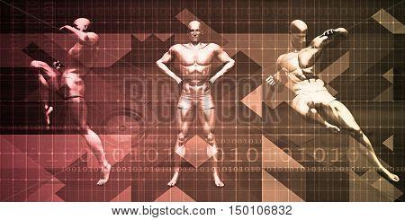 Body Combat Sport Design with Men in Fighting Stance 3d Render