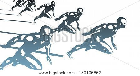 Running Silhouette Background as a Sport Concept 3d Render