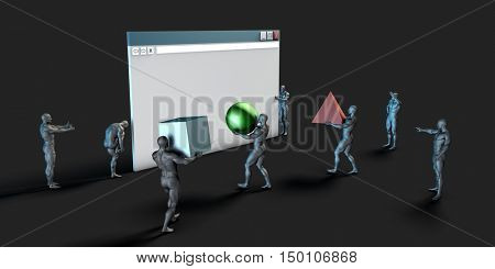 User Interface or UI Graphic Design for Web 3d Render