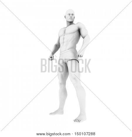 Superhero Pose With a Man in 3d Render Illustration 3d Render