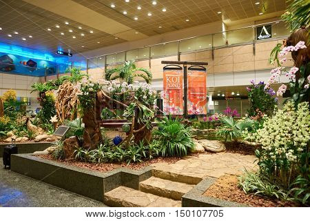 SINGAPORE - CIRCA AUGUST, 2016: inside of Singapore Changi Airport. Singapore Changi Airport is the primary civilian airport for Singapore, and one of the largest transportation hubs in Southeast Asia