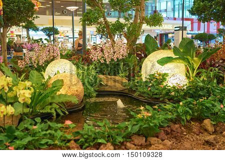 SINGAPORE - CIRCA SEPTEMBER, 2016: inside of Singapore Changi Airport. Singapore Changi Airport is the primary civilian airport for Singapore.