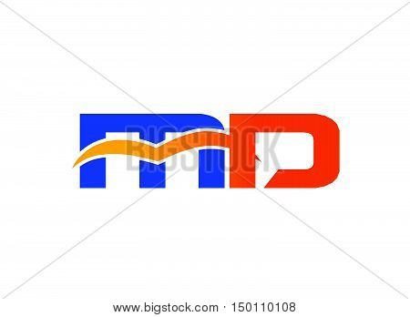 Letter M and D logo design vector template