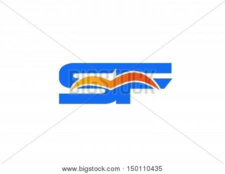 SF Logo. Vector Graphic Branding Letter Element