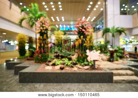 SINGAPORE - CIRCA AUGUST, 2016: defocused shot of Singapore Changi Airport. Singapore Changi Airport is the primary civilian airport for Singapore.