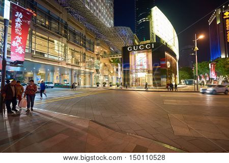 SHENZHEN, CHINA - FEBRUARY 05, 2016: Gucci store in Shenzhen. Gucci is an Italian luxury brand of fashion and leather goods.