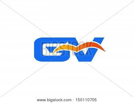 GV letter logo design vector template 1