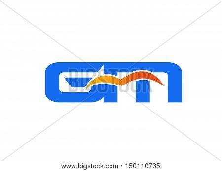 GM letter logo. GM letter logo design vector template