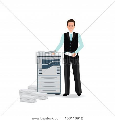 Businessman using copy machine or printing machine with stacked pile of file documents vector illustration.