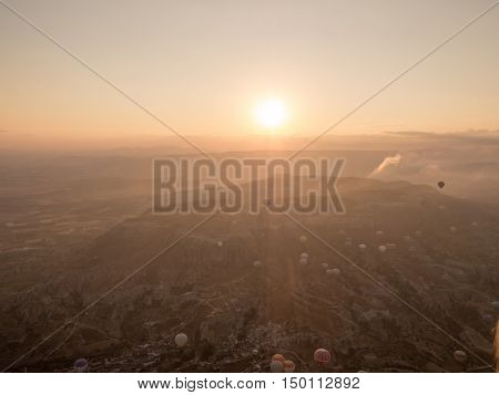 GOREME TURKEY- SEPTEMBER 16 2016: Balloon tour in morning sunrise.