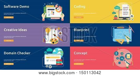 Creative Process Conceptual Design | Set of great banner flat design illustration concepts for business, creative idea, concept, marketing and much more.