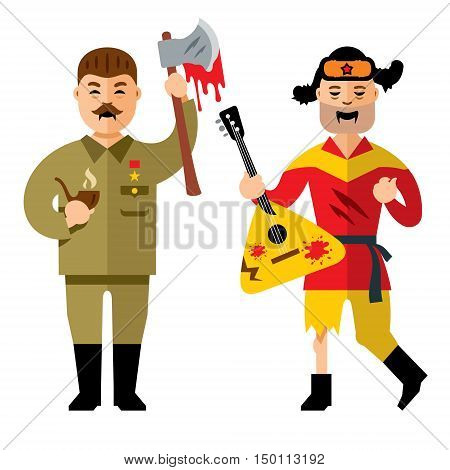 Dead man with an ax and farmer with balalaika. Isolated on a White Background