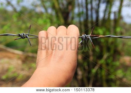 close up hands holding wire fence for freedom