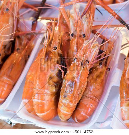 big Grilled shrimp in the fresh market