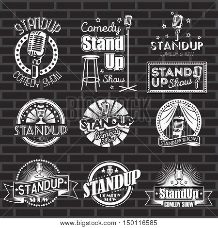 Set of standup comedy show white labels and stickers with black background. Vector badges