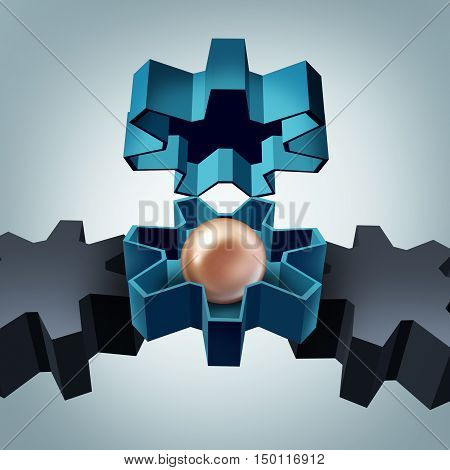Business value and corporate valuation or hidden assets concept as an open gear revealing a precious oyster pearl as a success metaphor for hidden worth as a 3D illustration. poster