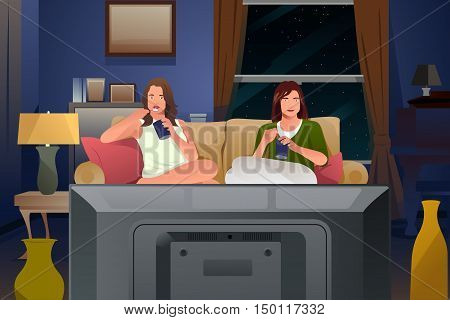 A vector illustration of Two Female Friends Watching TV and Eating Ice Cream