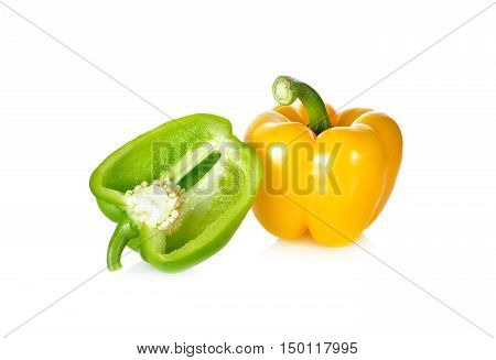fresh green yellow bell pepper with stem on white background