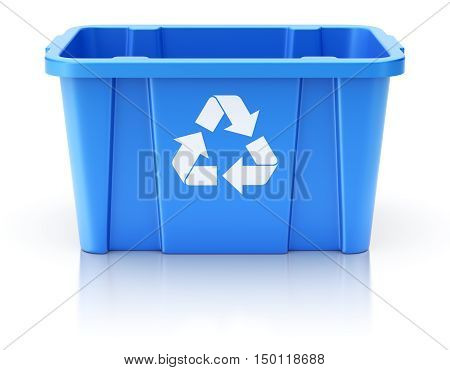 Blue recycle crate on white reflective background - 3D illustration