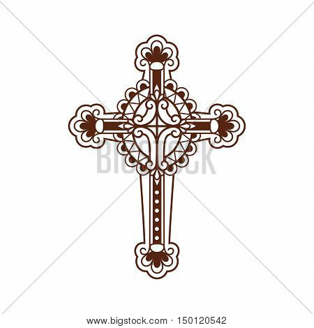 Ornate christian cross vector icon isolated on white. Vector illustration