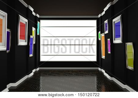 Plinths parquet and two uneven wall on which hang colorful paintings. 3d illustration