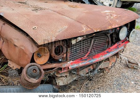 the condition of the car was demolished after the accident collided violently.