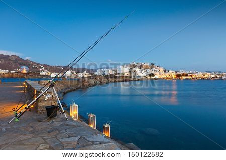 NAXOS, GREECE - SEPTEMBER 21, 2016: View of the Naxos town over the sea on September 21, 2016.