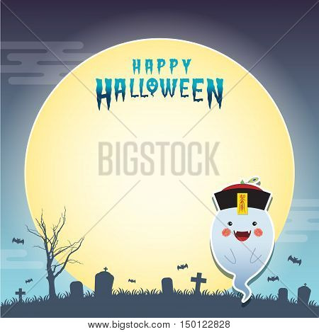 Happy halloween vector illustration. Cute ghost in chinese zombie cosplay with calligraphy amulet (taoist spell) and cemetery. Halloween cartoon character design for notepad, memo, message board.